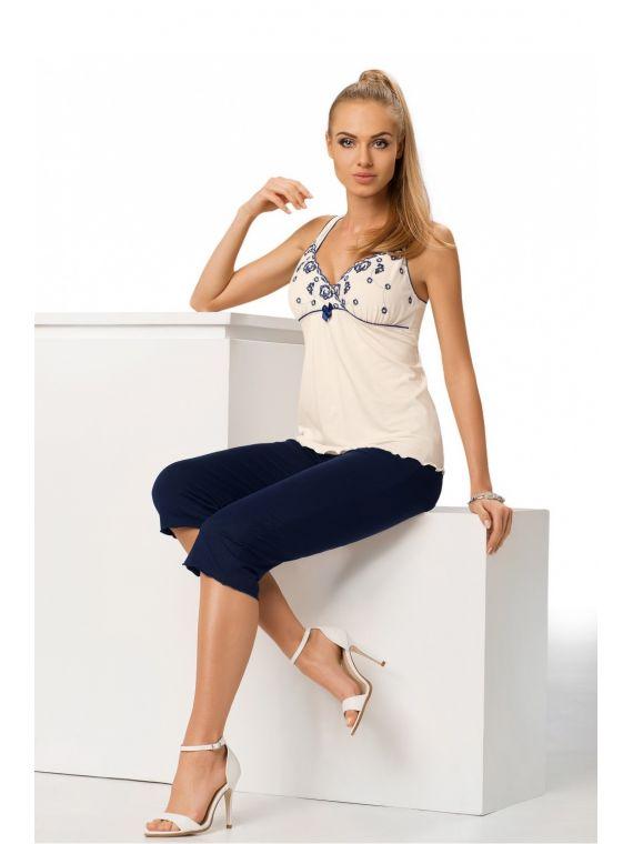 Piżama Damska Model Eliza 3/4 Cream