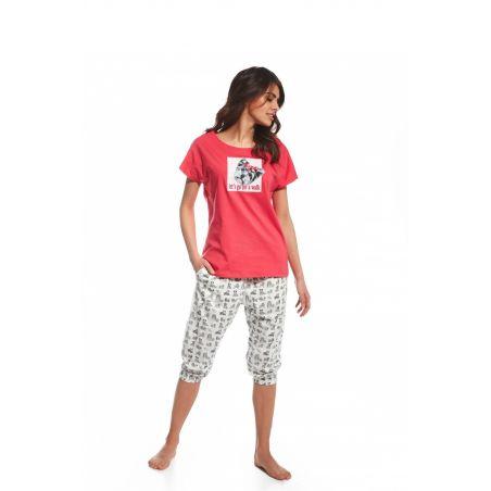 Pizama Damska Model Lets go 063/97 Pink/Ecru