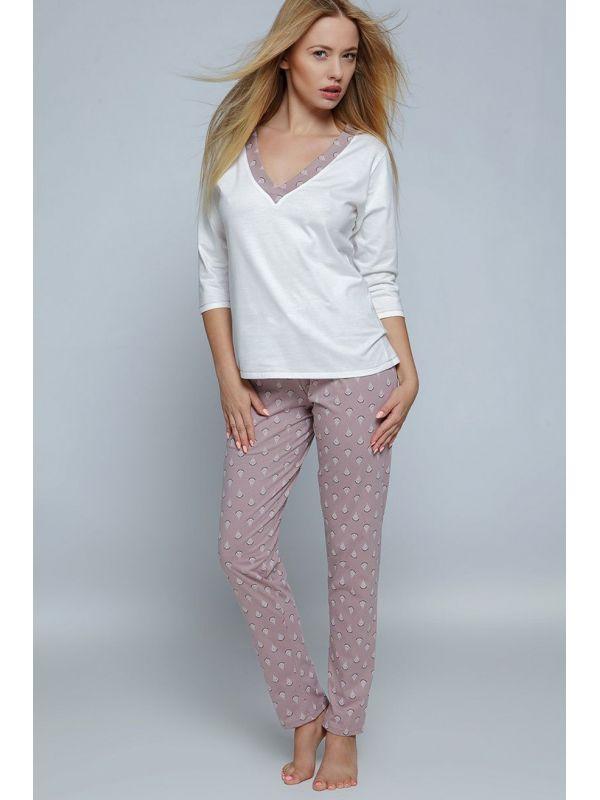 Piżama Damska Model Pam Cappuccino/Cream