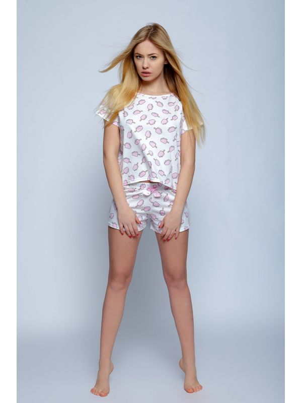 Piżama Damska Model Ice Cream Ecru
