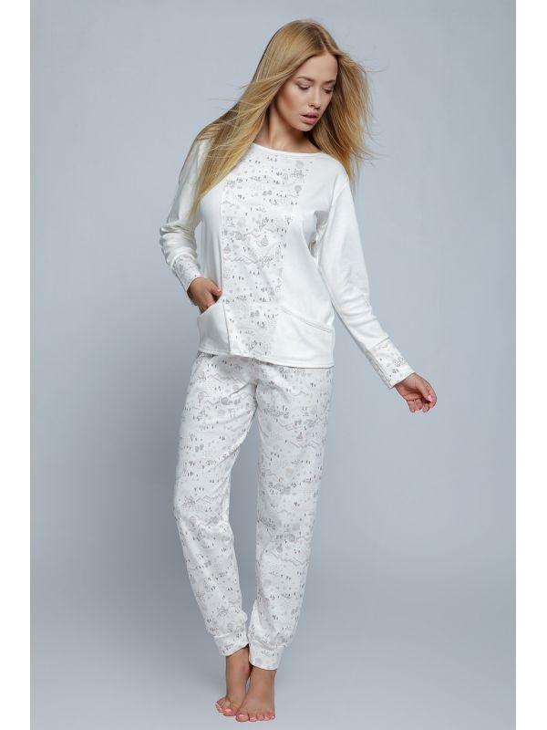 Piżama Damska Model Live Ecru