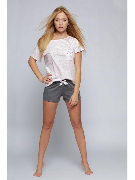 Piżama Damska Model Sofia krótkie spodenki Pink/Grey