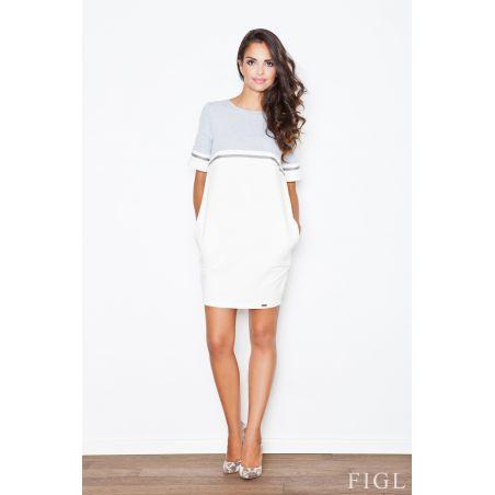 Sukienka Model 400 Ecru/Grey