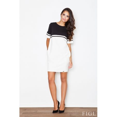 Sukienka Model 400 Ecru/Black