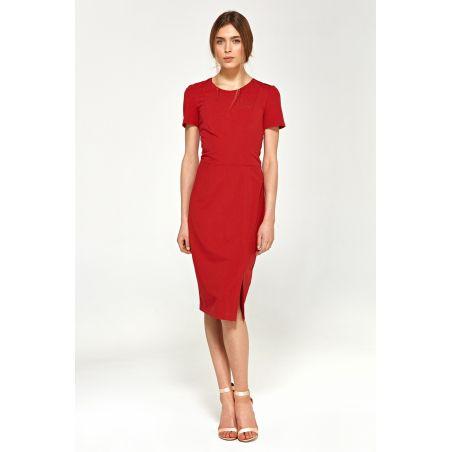 Dopasowana sukienka z krótkim rękawem S97 Red