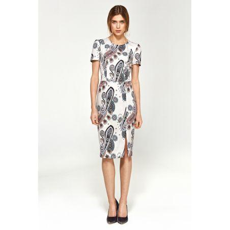 Dopasowana sukienka z krótkim rękawem S97 White/Wzór