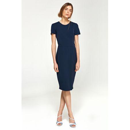 Dopasowana sukienka z krótkim rękawem S97 Navy