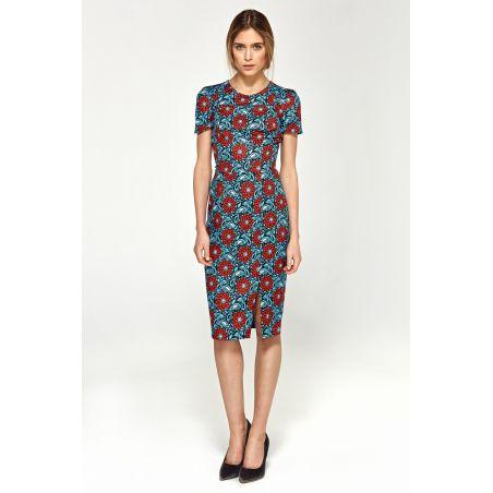 Dopasowana sukienka z krótkim rękawem S97 Blue/Flowers