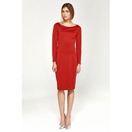 Dzianinowa sukienka z dekoltem w łódkę S95 Red
