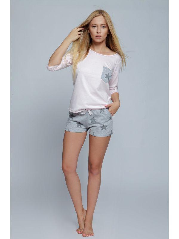 Piżama Damska Model Star Pink/Grey