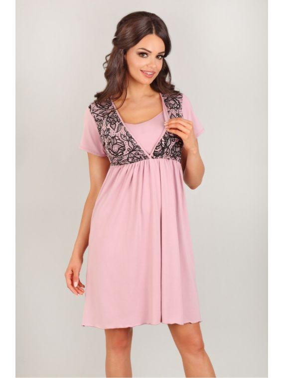 Koszula Nocna  Model 3006 Pink/BlackLupo Line