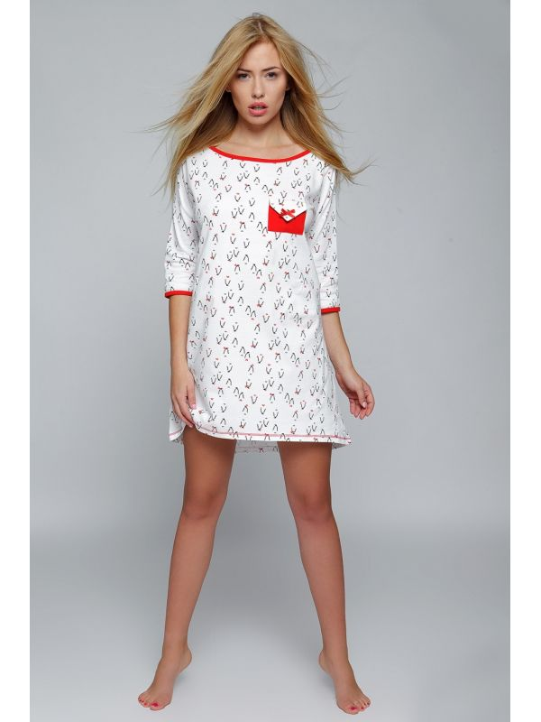 Koszula Nocna Model Pingwin White/RedSensis