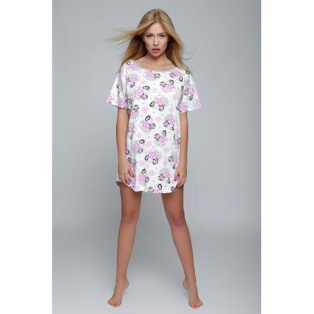 Koszula Nocna Model Frost White/PinkSensis