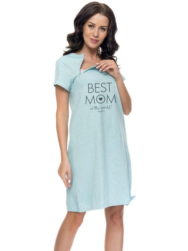 Koszula Nocna Ciążowa Model TCB.9081 Blue GreyDn-nightwear