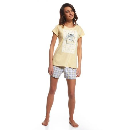 Piżama Damska Model Parfum 665/99 Trzyczęściowa Yellow
