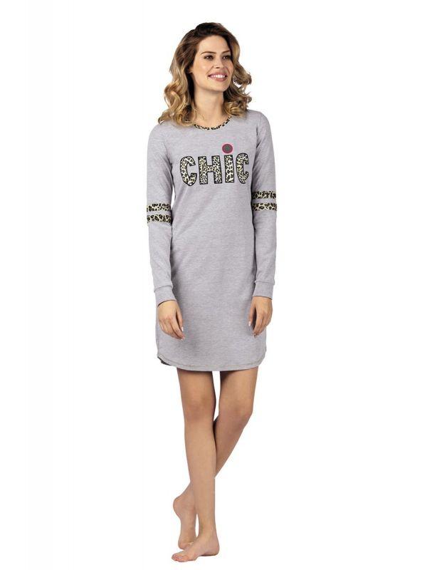 Koszula Nocna Model Chic 104425 dł.ręk. Grey MelangeWadima