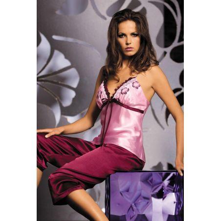 Piżama Damska Model Sophie Dirty Pink/Śliwka