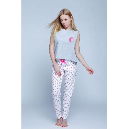 Piżama Damska Model Unicorn Grey/White