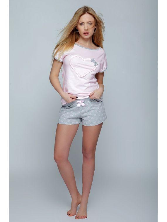 Piżama Damska Model Olimpia Pink/White