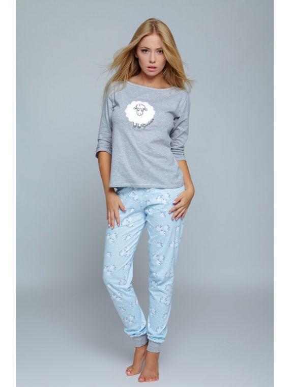 Piżama Damska Model Blue Sheep Grey