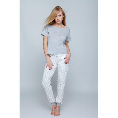 Piżama Damska Model Heart Grey