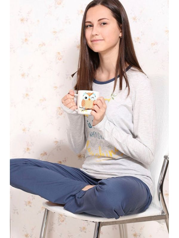 Piżama Damska Model Time to Relax 586 Grey/Blue