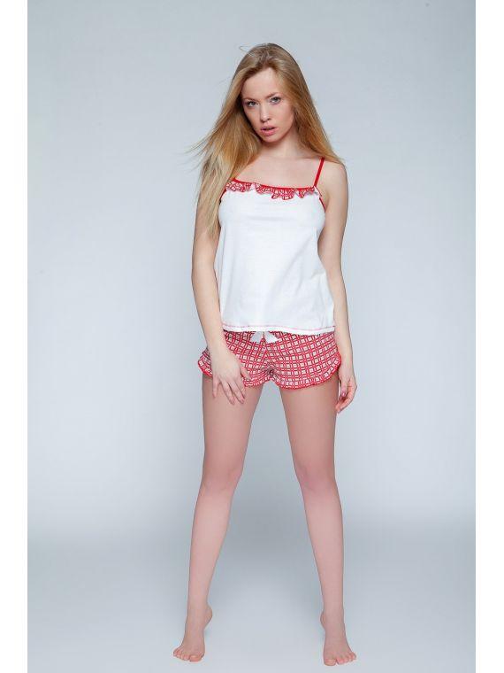 Piżama Damska Model Macarena White/Red