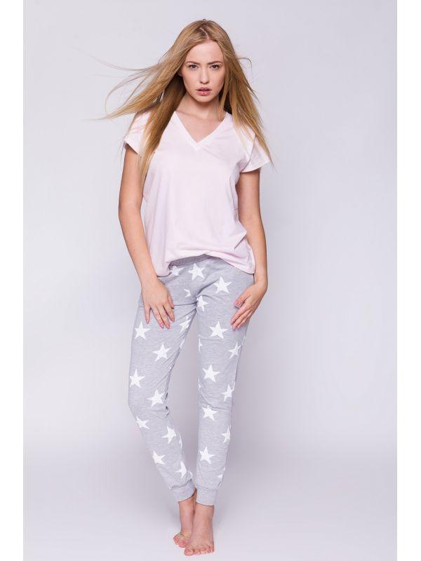 Piżama Damska Model Gwiazdka Pink/Grey
