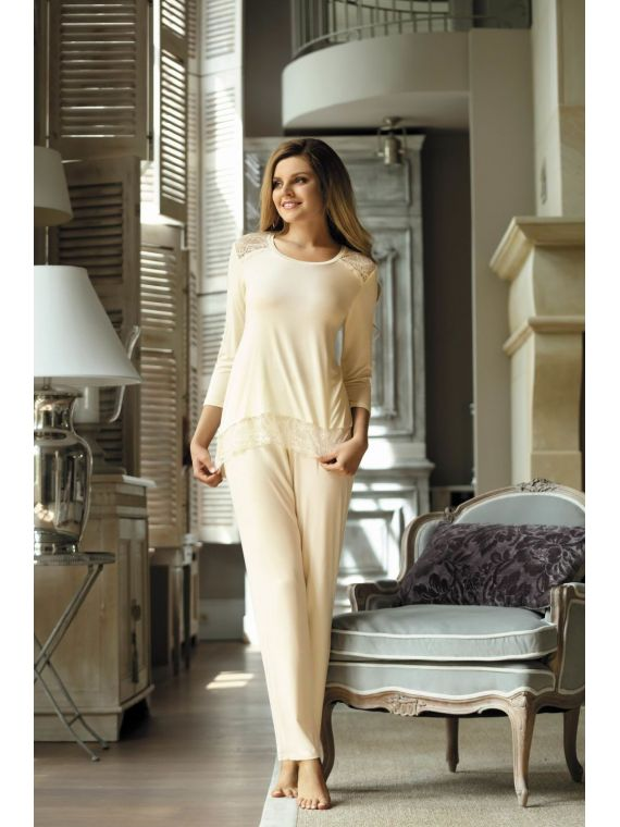Piżama Damska Model Olimpia Ecru