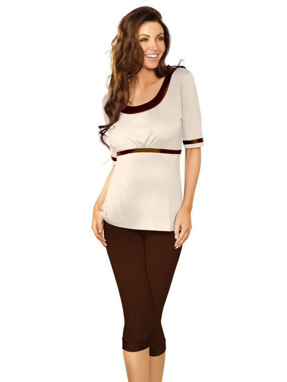 Piżama Damska Model Kati Czekolada/Beige