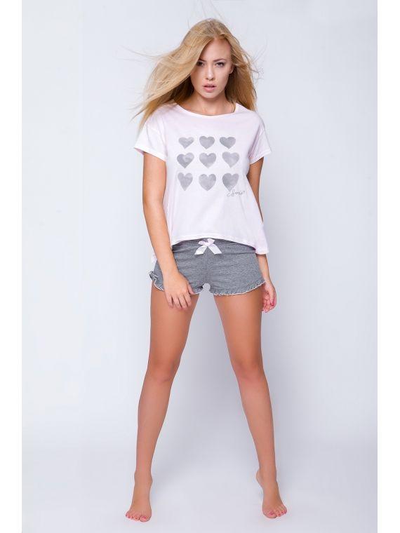 Piżama Damska Model Gloria Pink/Grey