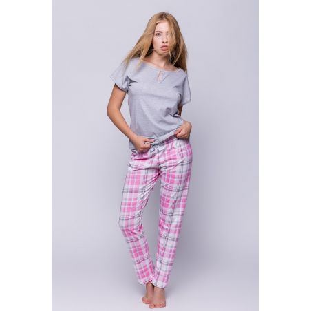 Piżama Damska Model Vanessa Grey/Pink