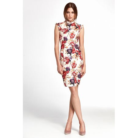 Sukienka z falbankami na ramionach S108 Flowers