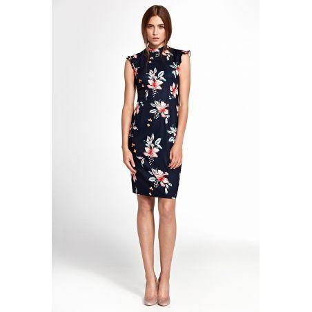 Sukienka z falbankami na ramionach S108 Navy/Flowers