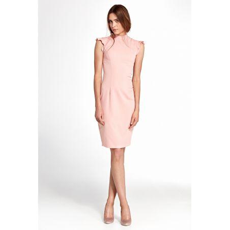 Sukienka z falbankami na ramionach S102 Pink