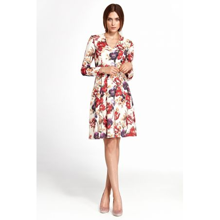 Sukienka z zakładkami S109 Flowers