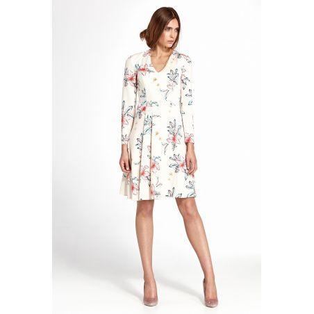 Sukienka z zakładkami S109 Ecru/Flowers