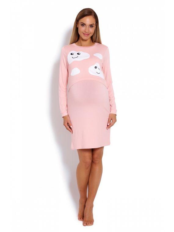 Koszula Nocna Ciążowa Model 1682 Powder PinkPeeKaBoo