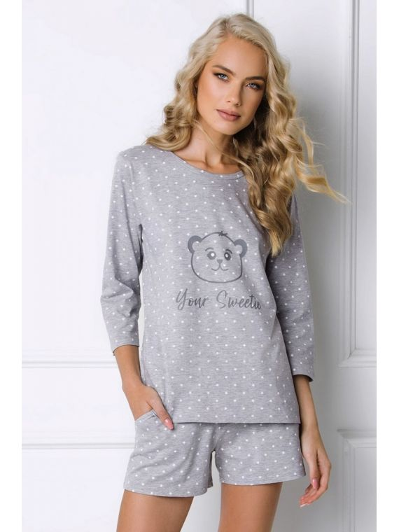 Piżama Damska Model Sweet Bear Short Grey