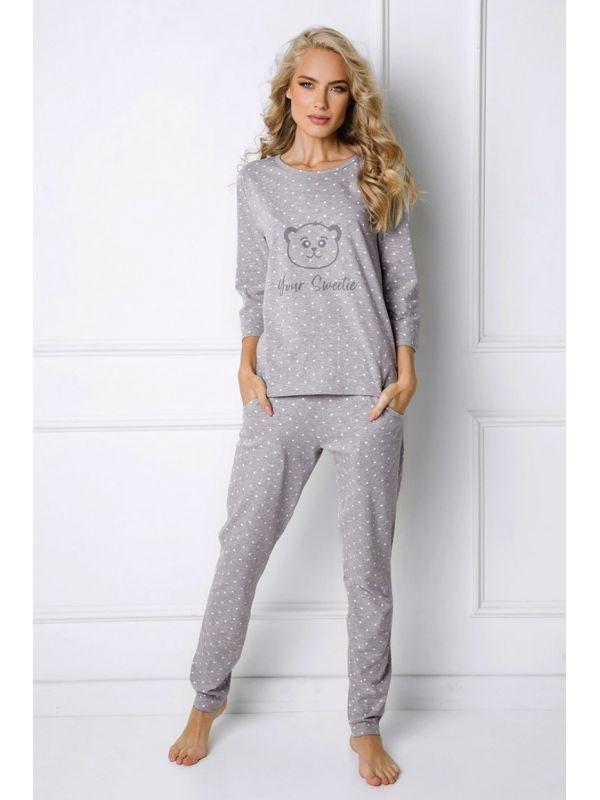 Piżama Damska Model Sweet Bear Long Grey