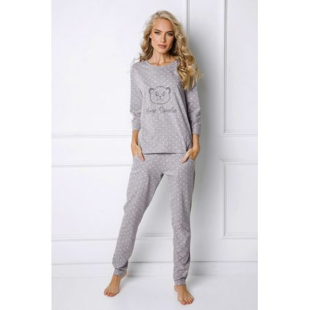 Piżama Damska Model Sweet Bear Long Grey