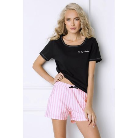 Piżama Damska Model Royal Short Black/Pink