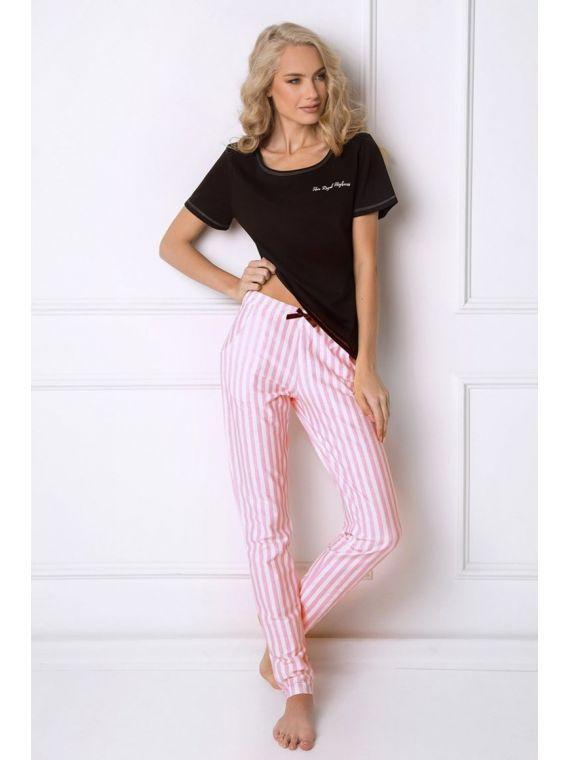 Piżama Damska Model Royal Long Black/Pink