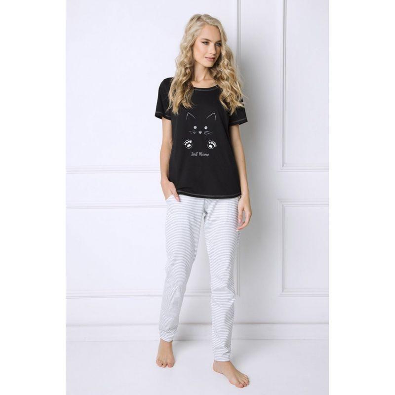 Piżama Damska Model Catwoman Long Black/White