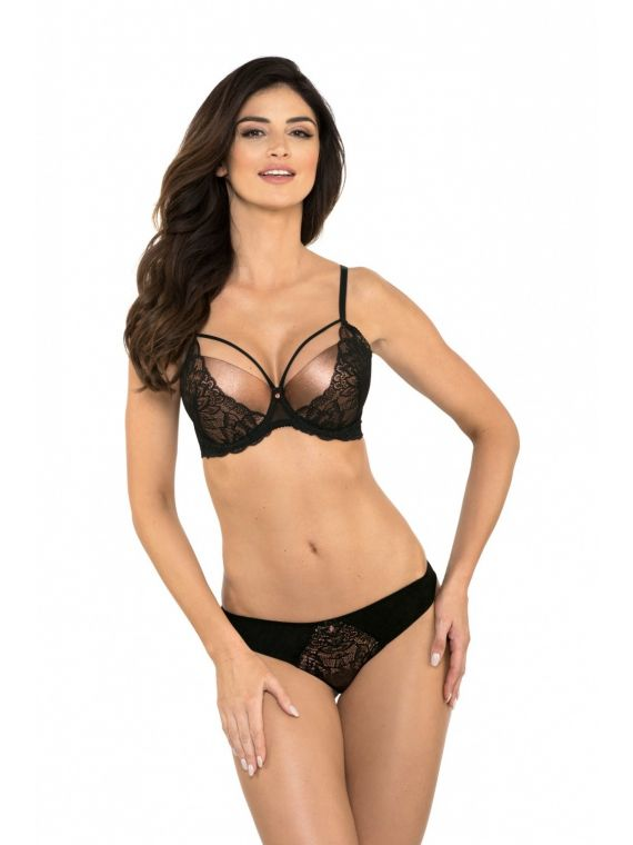 Biustonosz Push-up Model Selena B1 Black/Miedź