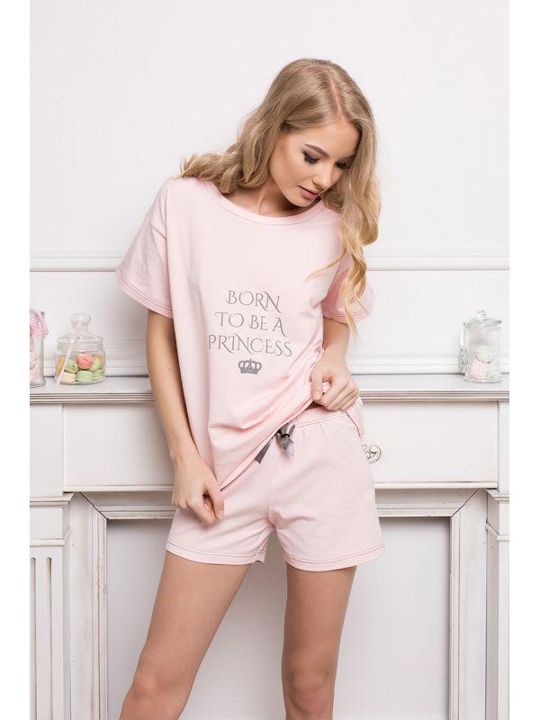 Piżama Damska Model Princess Short Pink
