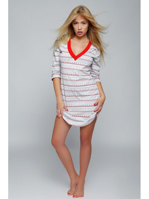 Koszula Nocna Model Snowflake Grey/RedSensis