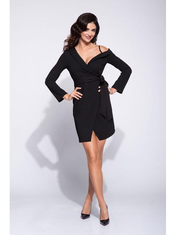 Sukienka odcinana w pasie szafir