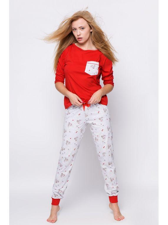 Piżama Damska Renifer Red