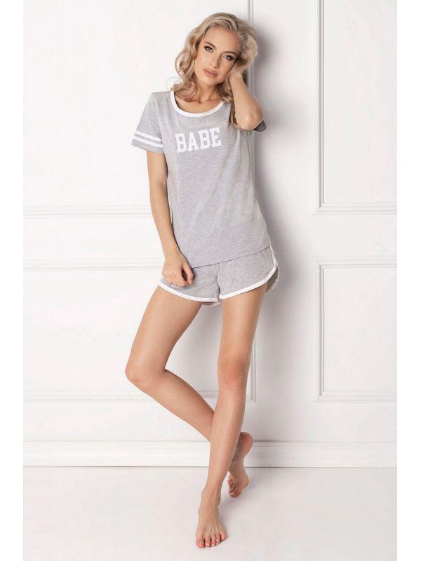 Piżama Damska Model Babe Short Grey